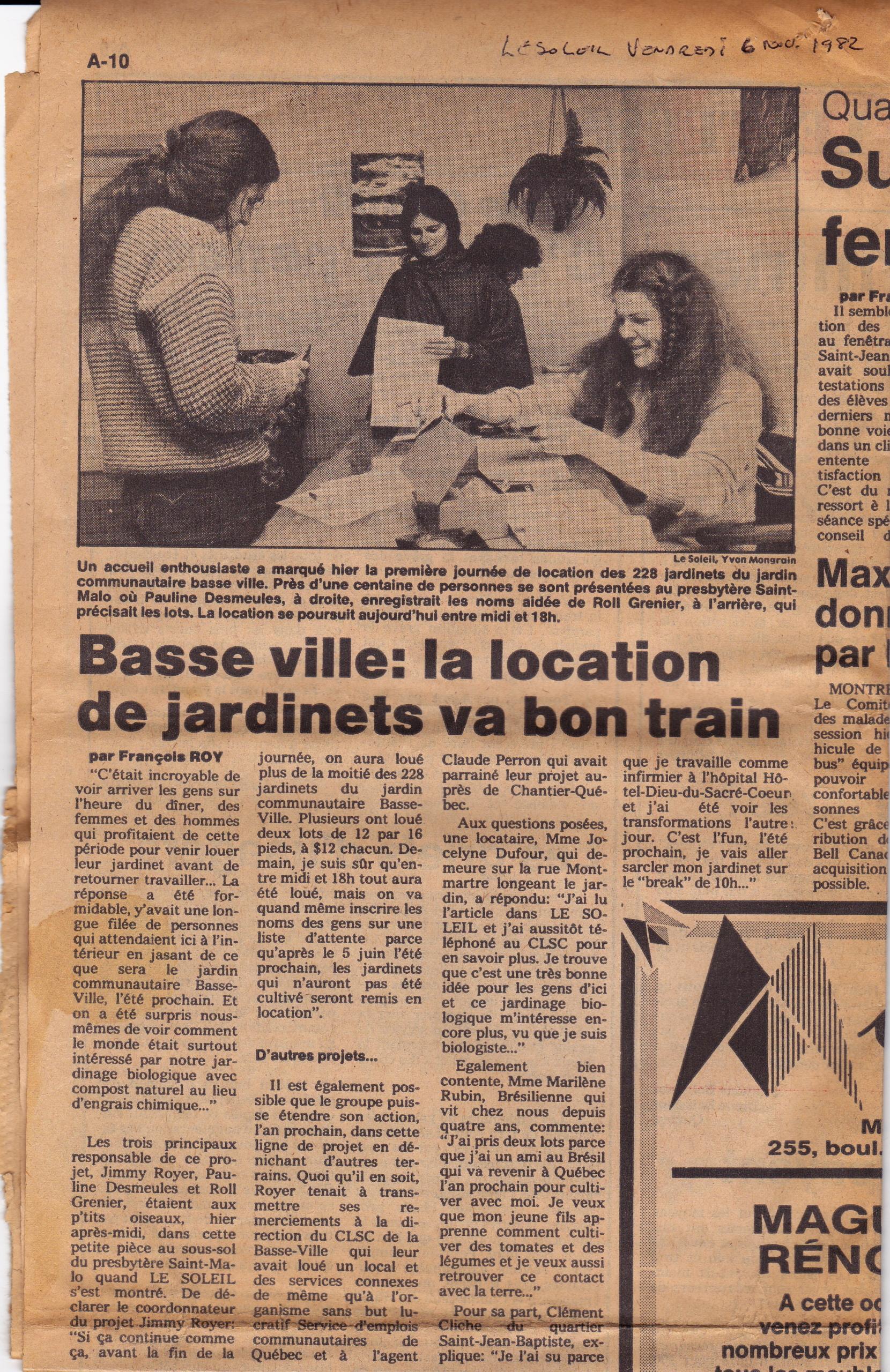 Le soleil 1982 - Inscription au jardin